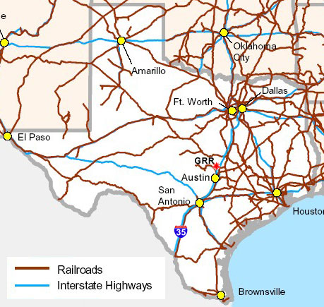 Railroad Map Of Texas.Texas State Railroad Map